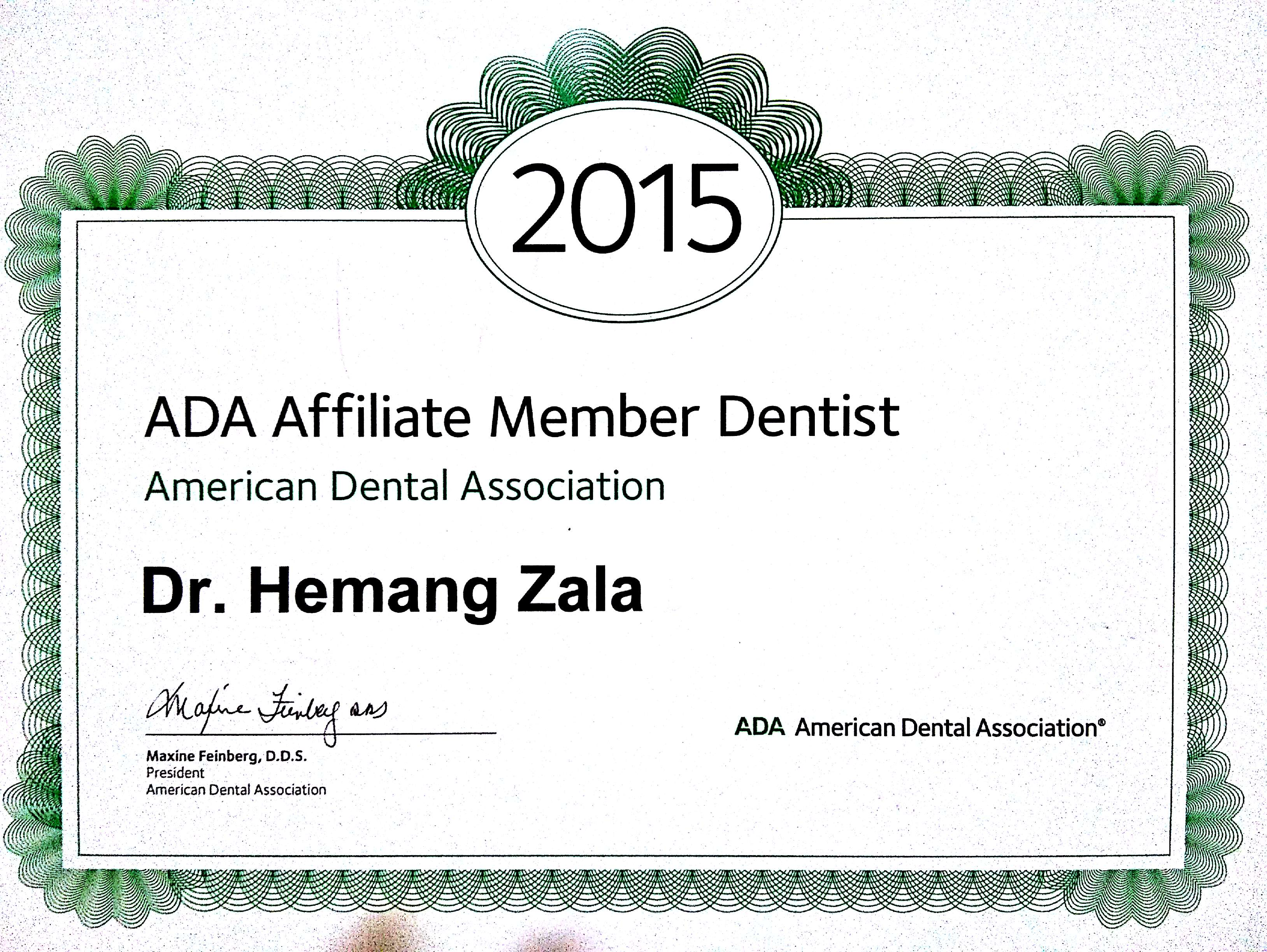 Affiliated Member Of American Dental Association Indian Society Oral And Maxillofacial Pathology CERTIFICATE
